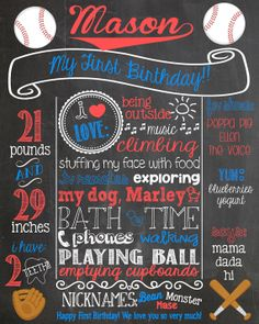 Custom Baseball Birthday Chalkboard Poster by PersonalizedChalk, $30.00
