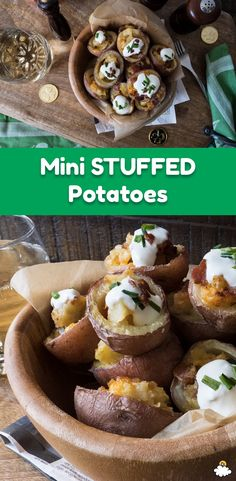 Our Mini Stuffed Potatoes are the perfect bite-sized treat for St. Patrick's Day. Ireland and potatoes go hand-in-hand so of course we're baking up our favorite potato recipes! This Mini Stuffed Potato Recipe combines two of our favorite potato dishes: potato skins and baked potatoes!