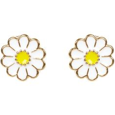 Monsoon Enamel Daisy Stud Earrings ($3) ❤ liked on Polyvore featuring jewelry, earrings, accessories, orecchini, yellow jewelry, daisy stud earrings, daisy jewelry, white jewelry and daisy earrings