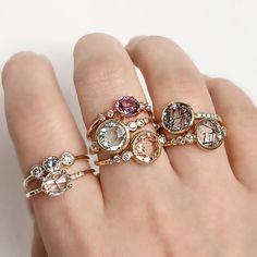 Stacks of sparkling stones #diamond #sapphire #spinel #morganite #aquamarine #quartz #madeinnyc #valejewelry