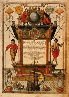 Title page from the Mariners Mirror, 1588, discovered in the National Maritime Museum archive. Code: NMM0046