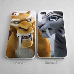 Ice Age Couples Phone Case Diego And Shira Matching Phone Case iPhone 4/4S, 5/5S, 5C Series - Hard Plastic, Rubber Case