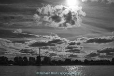 Black & White lake in Holland de Kaag cloudy sky