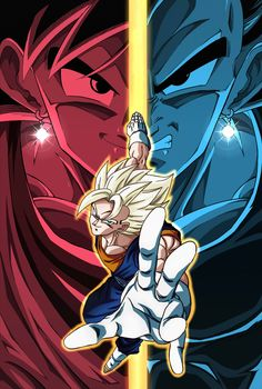 This is an awesome pic of Vegeto with Goku and Vegeta in the background faces merged Dragon Ball Gt, Dragon Ball Image, Comics Anime, Manga Dragon, Super Anime, Dragon City, Goku And Vegeta, Animes Wallpapers, Fan Art