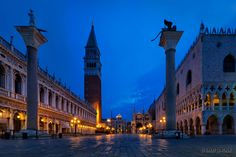 Piazza San Marco before dawn in Venice, Italy.