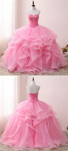Beaded pink tulle poofy evening gown