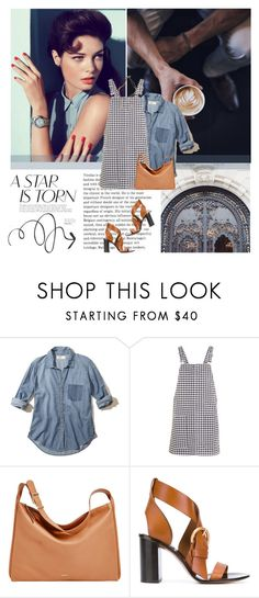 """""""Gingham Pinafore Dress"""" by colierollers ❤ liked on Polyvore featuring Yves Saint Laurent, xO Design, GUESS, Hollister Co., Topshop, Skagen, Chloé and Lizzy James"""