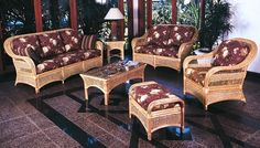 Such a nice set! Wicker Furniture, Living Room Furniture, Glass End Tables, Sit Back, Living Room Sets, Rattan, Love Seat, Family Room, Bamboo