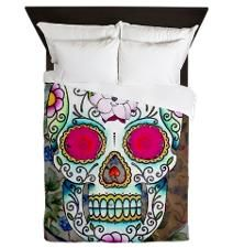 Tea Cup Sugar Skull Queen Duvet