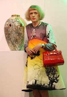 British artist Grayson Perry is known mainly for ceramic vases and cross-dressing. Perry's work refers to several ceramic traditions. Grayson Perry, Blue Pottery, Pottery Vase, Interior Art Nouveau, Miraculous, Vase Design, Charlotte, English Artists, Portraits