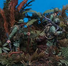 """""""Patrol"""" 1/35 scale. By Christos Panagiotopoulos (Christosjager). All BRAVO-6 figures (8) straight from the box. Vietnam war #figure_model #vignette #diorama http://en.diorama.ru/gallery/dioramas/2339/"""