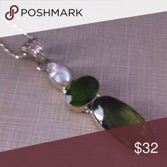 Japanese cultured pearl peridot green quartz set Beautiful!!!!  925 chain included genuine stones pearl is natural Japanese striking!!!!! NWOT 3 ' long of pure beauty FREE earrings biwa pearls stamped NWOT Jewelry Necklaces