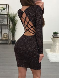 【Chicme Cyber Week Big Sale】Extra 10% OFF+ 50% OFF sitewide+ Check out with PayPal save $5. Glittering Caged Back Slinky Bodycon Dress