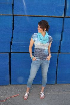 casual style with an infinity scarf, burn-out top, ankle jeans and sandals