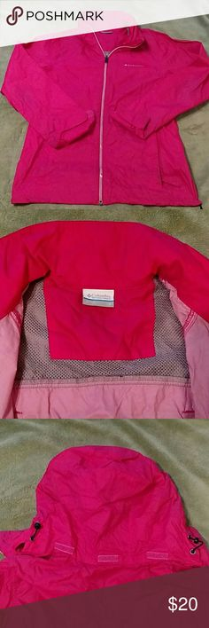 Columbia Windbreaker Extra lightweight! Perfect for cycling or hiking. Hood stores in collar. Adjustable waist band. Back vents to keep cool. Lightly worn. No tears. Great jacket. Columbia Jackets & Coats