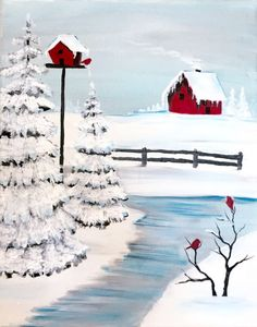 Cozy cabin in winter. Learn a couple of fun techniques with this fun painting wi. - Cozy cabin in winter. Learn a couple of fun techniques with this fun painting with winter trees. Christmas Paintings On Canvas, Christmas Canvas, Christmas Art, Beautiful Christmas, Christmas Scenes, Christmas Ideas, Painting Lessons, Painting & Drawing, Watercolor Paintings