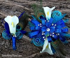 Realistic, artificial, calla lily, hydrangea, and peacock feather wrist corsage and boutonniere by Something Spectacular/Something Floral. Corsage Wedding, Wedding Bouquets, Prom Corsage, Corsages, Prom Flowers, Wedding Flowers, Diy Wedding, Dream Wedding, Wedding Ideas
