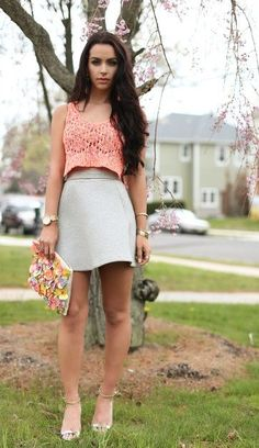 Crop top and skater skirt