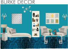 """Mod Blue Living Room"" by maw036 on Polyvore"