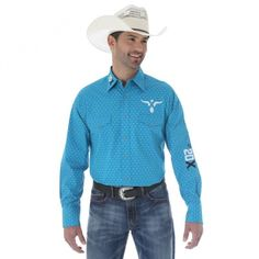 WRANGLER 20X MENS LOGO PRINTED SHIRT $99.95 Stand out from the crowd in this striking teal shirt with bull heads printed through it.