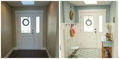 ボード・アンド・バテンの羽目板は玄関に農家の魅力の劇的な用量を追加する簡単な方法です。 ホーム・デポでチュートリアルを入手