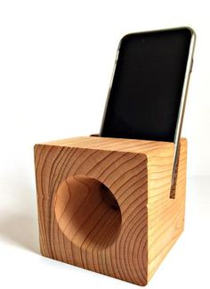 Cedar Handmade Phone Dock & Acoustic Amplifier.