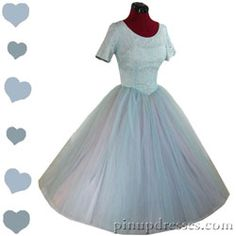 Vintage 50s Blue Cupcake Tulle Lace Full Skirt Dress XS
