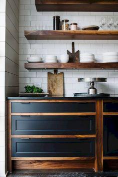 45 Fabulous Apartment Kitchen Rental Decor Ideas Home Decor Ideas Kimogstore Black Kitchen Cabinets, Farmhouse Kitchen Cabinets, Rustic Kitchen, Kitchen Decor, Kitchen Ideas, White Cabinets, Room Kitchen, Rental Kitchen, French Kitchen