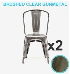 Set 2 industrial tolix STYLE brushed gunmetal aluminum marais bistro cafe  chairParis Flip Top Metal Bistro Set with Aluminium Chairs for sale  . Metal Cafe Chairs Sale. Home Design Ideas