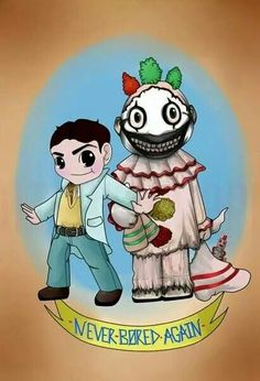 Because every spoiled rotten rich kid should have their own homicidal clown friend. Dandy Mott/American Horror Story: Freak Show Evan Peters, American Horror Story Art, Scary, Creepy, Bae, Horror Show, Fantasy Movies, Coven, Horror Stories