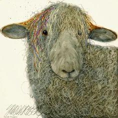 Artist - Sarah Rogers - love that face! Gravure Illustration, Illustration Art, Sheep Paintings, Sheep Crafts, Sheep Art, Sheep And Lamb, Illustrations, Farm Yard, Whimsical Art