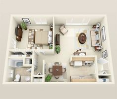 1 Bedroom Apartment/House Plans This would be the first time that we will show you a round-up of floor plans and we feel a bit excited in creating this list. A good floor plan design is One Bedroom House Plans, 3d House Plans, Bedroom Floor Plans, Small House Plans, Apartment Layout, 1 Bedroom Apartment, Apartment Design, Couples Apartment, Studio Apartment Floor Plans
