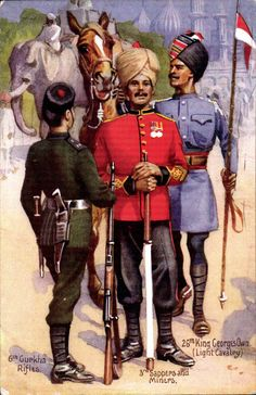 Details about Military Art by Gale & Polden. Indian Army. 6th Gurkha Rifles, 3rd…