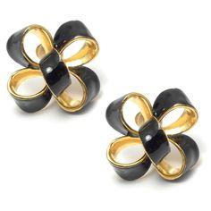 Kenneth Jay Lane Black Enamel Bow Earrings