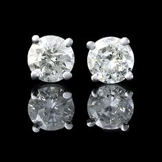 .78CT ESTATE ROUND CUT GENUINE DIAMOND STUD EARRINGS 14k WHITE GOLD 100% NATURAL
