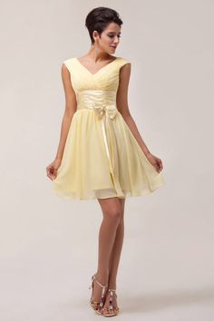 Short canary yellow bridesmaid dress