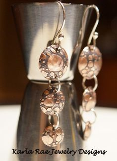 Etched copper earrings with sterling silver accents and earwires  Karla Rae Jewelry Designs