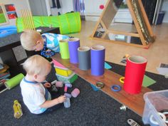Cover heavy rolls in fabric. Provide a 'platform' for play. Infant Toddler Classroom, Toddler Play, Baby Play, Reggio Inspired Classrooms, Reggio Classroom, Baby Room Activities, Infant Activities, Early Childhood Activities, Early Childhood Education