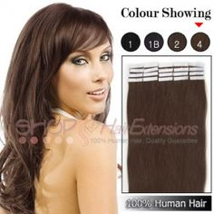16 Inch 20pcs Tape Premium Remy Human Hair Extensions Straight (#4 Chocolate Brown)