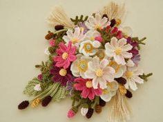 ハンドメイド レース編み ♪秋のお花のシュシュ♪_画像1