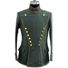 Replica of German WWI Imperial Uhlan Officer Tunic (Yellow Piping) for Sale Military Dresses, Military Style Jackets, Military Uniforms, Steampunk Clothing, Steampunk Fashion, Gothic Steampunk, Victorian Gothic, Gothic Lolita, Gothic Fashion