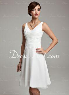 A-Line/Princess V-neck Knee-Length Chiffon Dress With Ruffle Beading