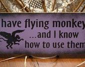 Flying Monkey, hand painted sign USA, Kathy's Holiday,