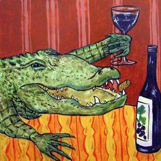 ALLIGATOR art PRINT REPTILE abstract pop folk 8x10 JSCHMETZ kitchen art modern