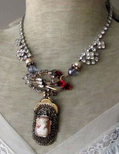BAG of JEWELS - vintage assemblage necklace with antique mesh purse, shell cameo, gemstones and rhinestones art deco by the french circus