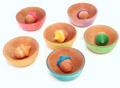 Acorn Bowl Sorting Toy Educational Waldorf by LittleOwlBigSky, $25.00