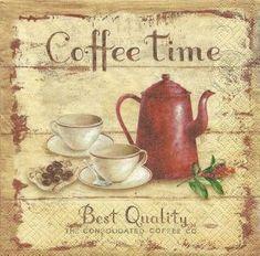 Serviette : Coffee Time, cafetiére rouge