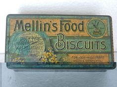 Vintage Mellin's Food Biscuits Ad Litho Tin Box , England