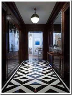 Modern Floor Design Ideas, Pictures, Remodel, and Decor Home modern flooring designs ideas pictures. bathroom floor design great use of penn. Black And White Hallway, Black And White Marble, Black Walls, Black And White Flooring, White Art, White Wood, White Walls, Dark Hallway, White Vinyl