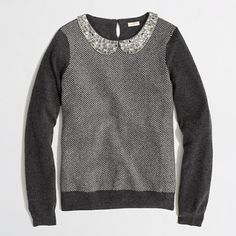 J.Crew Factory - Factory warmspun herringbone jewel-collar sweater